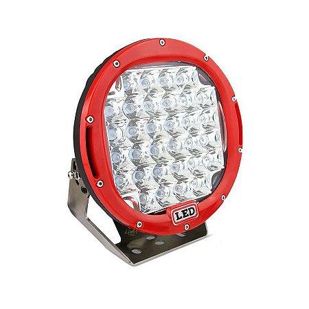 Farol de LED Milha 96w 32 LEDs Spot Vermelho Parachoque 22cm 9 Polegadas - Und