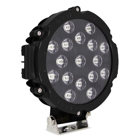 Farol de LED Milha 51w 17 LEDs Flood Preto Prova D' Água 18cm 7 Pol – Und