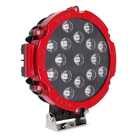 Farol de LED Milha 51w 17 LEDs Flood Vermelho Prova D' Água 18cm 7 Pol – Und