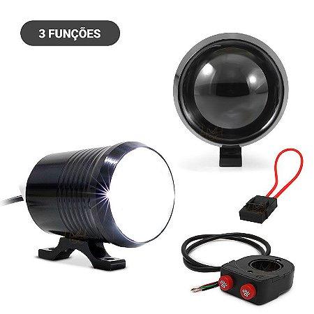fe0aa37d55 Farol de LED Milha Moto Cree U2 15w 3000 Lumens Branco + Controle ...