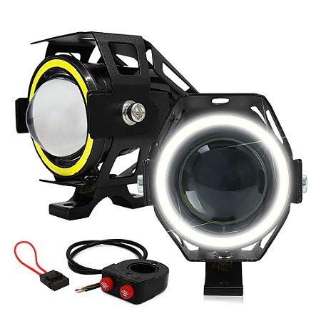 Farol Milha Moto 15W U7 3.000LM Luz Alta + Angel Eyes Branco + Controle Duplo + Porta Fuse - Par