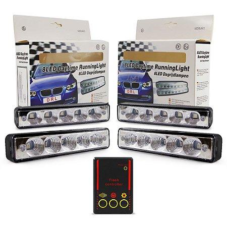 Kit Strobo Automotivo - 04 Farol LED 1040 Azul 15cm Prova Água + Controle 13 Efeitos - 12V