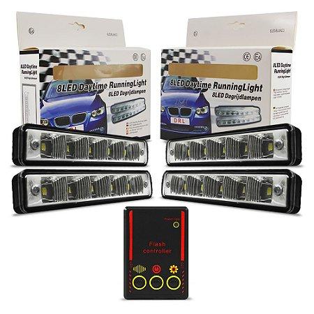Kit Strobo Automotivo - 04 Farol LED 1040 Vermelho 15cm Prova Água + Controle 13 Efeitos - 12V