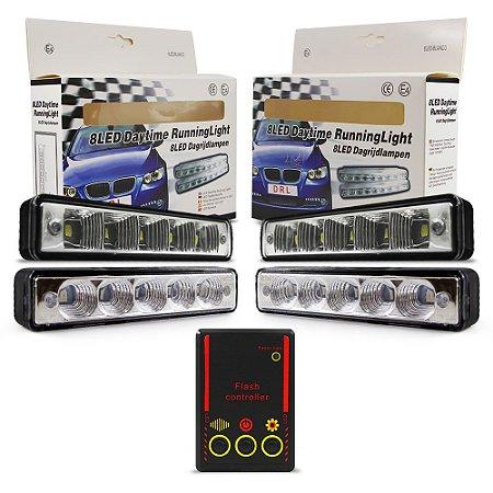 Kit Strobo Automotivo Oficial - 04 Farol LED 1040 Azul e Vermelho 15cm Prova Água + Controle 13 Efeitos - 12V