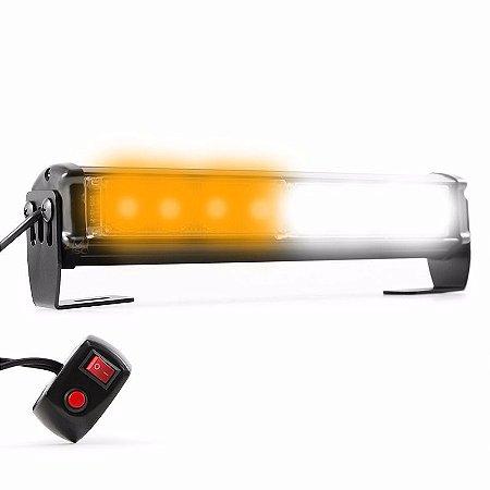 Giroflex Barra LED 26cm Farol Branco Laranja Sinalização Alerta Moto Controle Efeitos Strobo