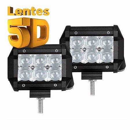 Farol Barra de LED 18w 6 LEDs Cree - Lente 5D - Foco Spot 9,5cm 4 Pol