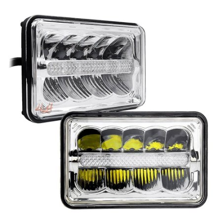 """Farol de LED Universal 4x6"""" Pol Retangular 168mm - Caminhão - Pickup - Par"""