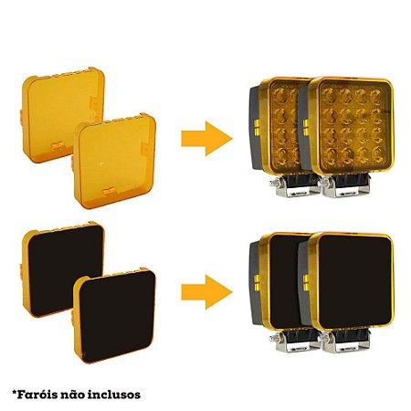 Kit 2 Lentes Acrílicas Âmbar + 2 Adesivos Pretos p/ Farol de LED Quadrado 27w ou 48w