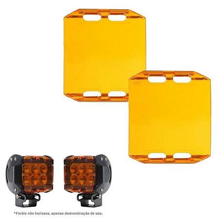 Lente Ambar Capa p/ Farol de LED 18w 9,5cm - Milha Neblina Atenção Sinalização - Par