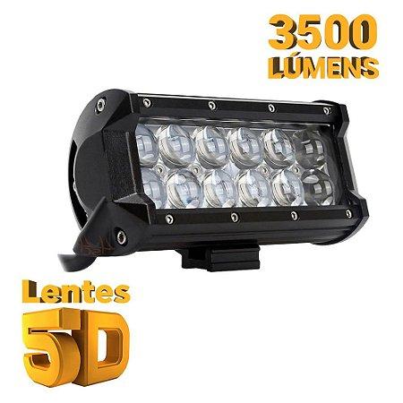 Farol de Milha Barra LED 36w 12 LEDs CREE Lente 5D Spot 16cm 7 Pol - Und
