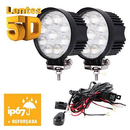 Farol de Milha Redondo 27w 5D 9 LED Auxiliar Flood  11cm Par + Chicote