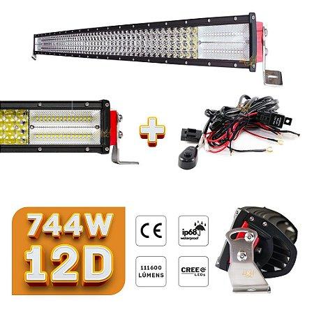 Barra de LED 42 Pol 107cm Lente 12D 744W 111600Lm Farol Milha Aux + Chicote