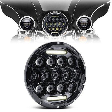 Farol 7 Polegadas Full LED 78W - DRL Milha - Day Maker - Moto Harley Honda Yamaha - Und