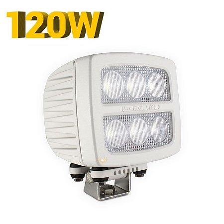 Farol de LED Auxiliar Náutico 120w Branco - Prova da Água - Lancha Barco 5500 Lúmens - Und