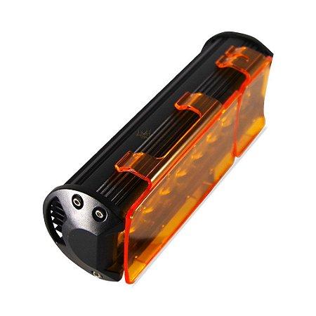 Kit 02 Lente Ambar Capa p/ Barra de LED 23cm 9 Pol - Neblina - Sinalização