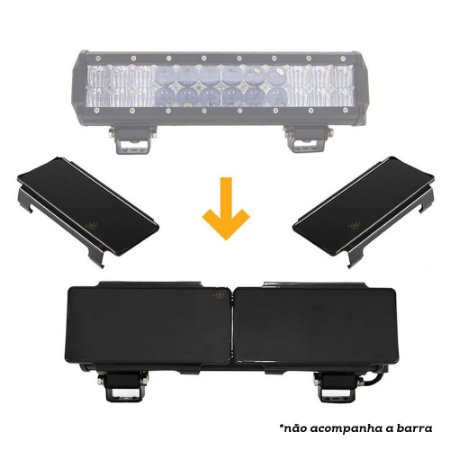 Kit 02 Tampas Pretas Capa p/ Barra de LED 2 Linhas 72W 12 Pol - Uso em Vias Públicas