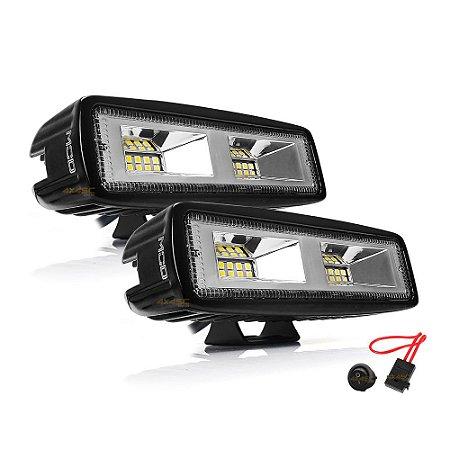 Farol de LED Auxiliar Milha 6 Pol 48w 16 LEDs Flood 15cm  8640Lm - Par