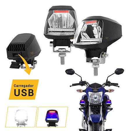 Farol de LED Milha Moto Oficial 15W com USB - Luz Branca + Pisca Azul/Vermelho + Controle Guidão - Par