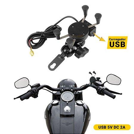 Suporte Celular Moto USB - Carregador Smartphone - Ver GPS Maps - Prende no Espelho Gira 360º