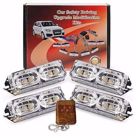 Kit Strobo Automotivo 04 Farol LED Vermelho 24W - Prova d' Água + Controle Longa Distancia 12V