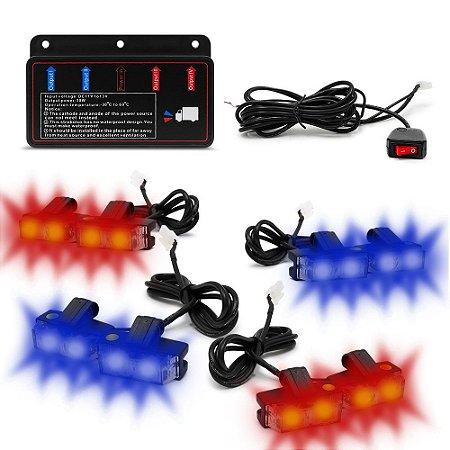 Kit Strobo Automotivo 08 Farol LED - Grade Frontal do Veículo - Azul e Vermelho