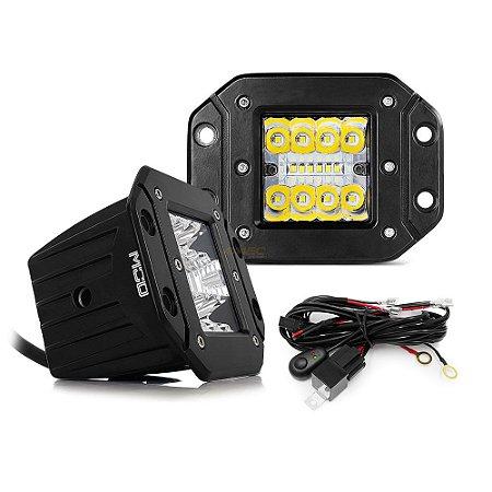 Farol de Embutir Milha LED 48w 12cm 16 LEDs Combo Flood + Spot 4320Lm - Par + Chicote
