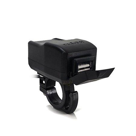 Carregador Usb Moto Quadriciclo Bicicleta Elétrica 5V 2.5A p/ Celular Smartphone - Suporte Guidão