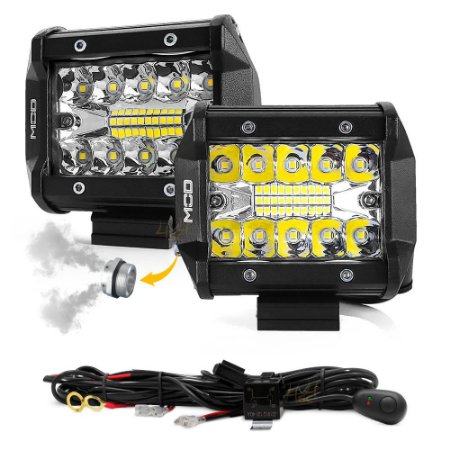 Farol de Milha 4 Pol 60w 20 LEDs Combo Flood + Spot 9,5cm 12000Lm + Chicote - Par