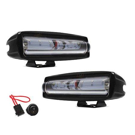Farol de LED Sinalizador Luz da Via p/ Empilhadeira 6 Pol 15cm 20w Vermelho + Fuse e Botão - Par