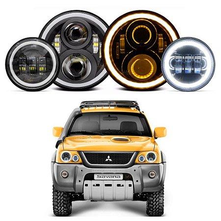 Kit 2 Farol LED 7 pol Angel 60w + 2 Milha 4.5 Pol p/ Mitsubishi L200 Pajero Sport Tr4 + Suportes