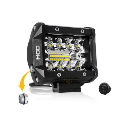 Farol de Milha 4 Pol 60w 20 LEDs Combo Flood + Spot 9,5cm 6000Lm + Botão - Unidade