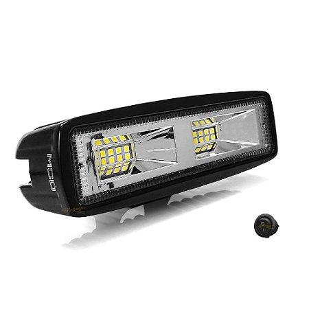 Farol de LED Auxiliar Milha 6 Pol 48w 16 LEDs Flood + Spot 15cm 4320Lm - Preto Und