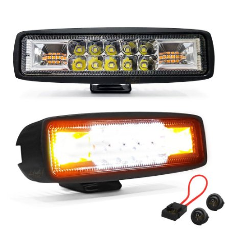 Farol LED Milha + Strobo Âmbar 48W 15,5cm + P. Fuse + 2 botões - Par