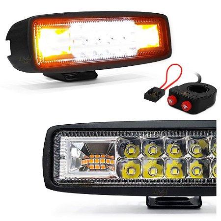 Farol LED Milha + Strobo Âmbar 48W 15,5cm  + Interruptor Moto Duplo + Porta Fuse - Par