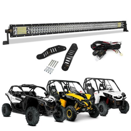 Barra LED 42 pol 111cm 576W RETA + Suporte p/ Can Am Maverick X3, XRS 1000R e Commander