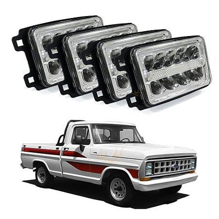 Kit p/ Pickup Ford F-1000 - 04 Farol LED 4x6 Pol 168mm + 04 Suportes