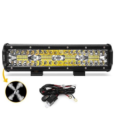 Barra LED 13 Pol 31cm 8D 240W 21600Lm Combo + Chicote