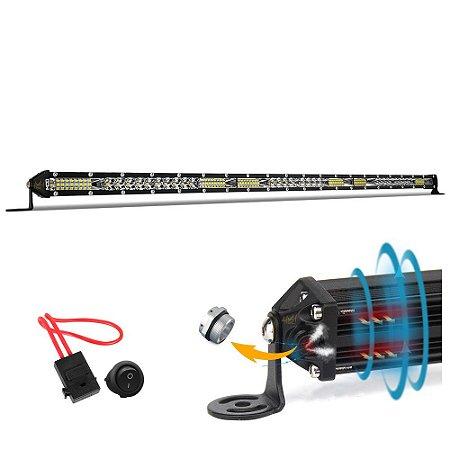 Barra LED Slim Fina Milha Farol Aux 234w 78 LEDs 79cm 30 Pol Válvula - Fusível + Botão