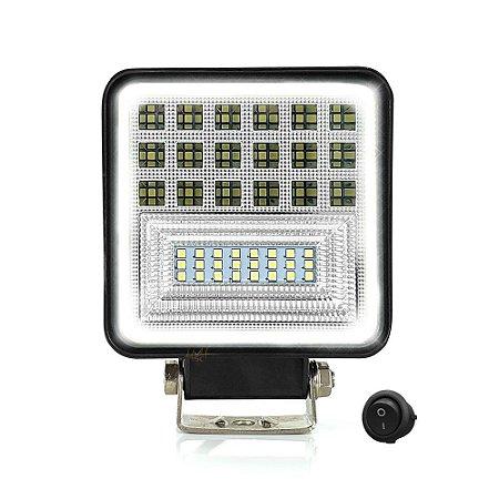 Farol Milha Quadrado 126w LED 11cm Spot Flood + Angel Eyes Branco (12-24v) - Und