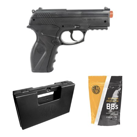 Pistola de airsoft C11 Rossi á gás CO2 GNBB - Cal. 6mm + Case Rossi + 1000 bbs Rossi 0.20g