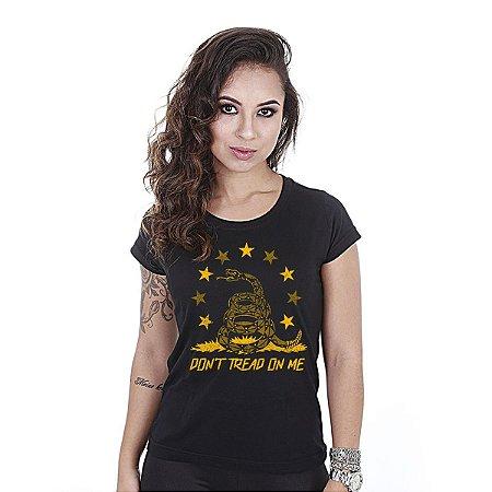 Camiseta feminina baby look Don't tread on me cascavel - Team six