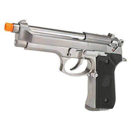 Pistola de airsoft Beretta M92 Cromada WE á gás (GBB) Blowback/Full metal - Cal. 6mm