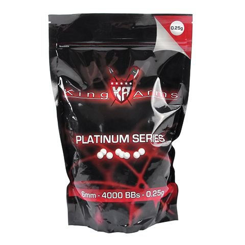 Esferas plásticas BBs King Arms 0.25g Platinum Series (Branca) - 4000 un
