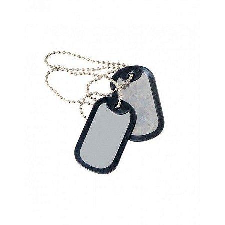 Plaqueta de identificação militar Dog tag - lisa
