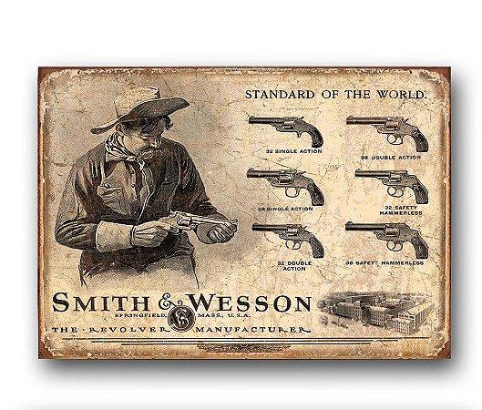 Placa decorativa Smith & Wesson Retrô