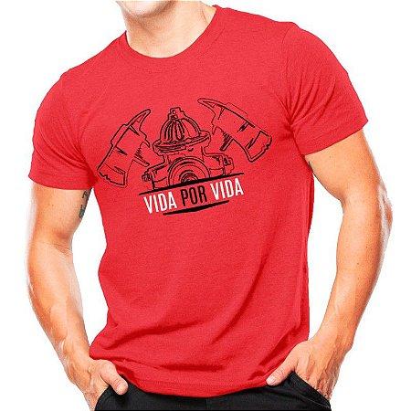 Camiseta estampada Vida por vida Vermelha Atack militar  b1825a00f3d