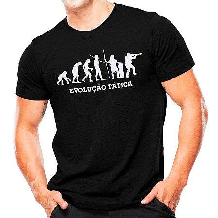 Camiseta T-shirt estampada Evolução tática - Branca