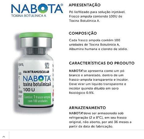 Toxina Botulínica 100U tipo A 1 F/A pó Liof (2a 8°C) Nabota Moksha8 Rennova