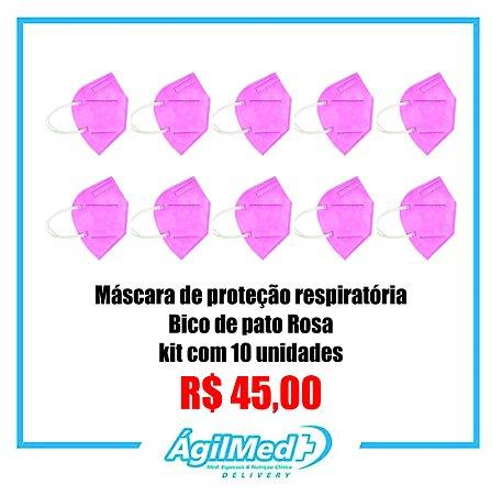 Máscara de Proteção Respiratória bico de pato Rosa - 4 Me Health kit com 10 unidades.