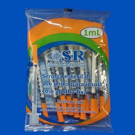 Seringa Estéril Insulina C/ Agulha Fixa 1ml SR Pac c/ 10 Un